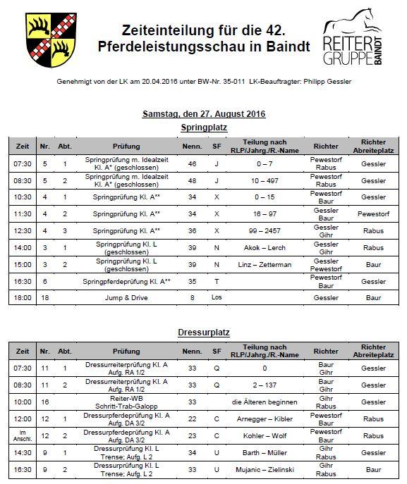 Zeiteinteilung 42. Turnier Samstag